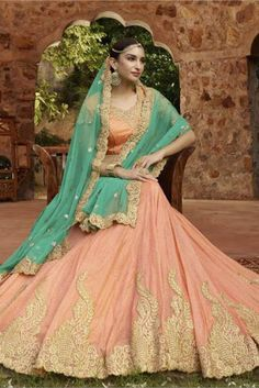 Sea Green and Peach Colour Net and Silk Fabric Designer A Line Lehenga Choli Comes With Matching Blouse and Dupatta. This Lehenga Choli Is Crafted With Resham Work,Embroidery. -www.cooliyo.com