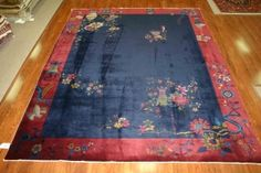 Plush and rich reds and blues. Who can resist this Nichols original, stil immaculate after all these years since the 1920s? #deco #chinese #antique #rug