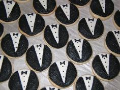 Tuxedo Cookies - Bake sugar cookies with whole wheat flour and decorate them with powdered sugar icing and black licorice to look like tuxedos