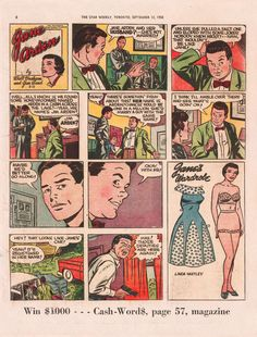 Sunday Comics II -- Jane Arden Vintage Type, Vintage Comics, Newspaper, Comic Art, 1950s, The Past, Joker, Sunday, Baseball Cards