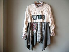 Upcycled Cropped Sweater Shrug / Ecru / Shabby by BentEdgeAlchemy..$45 over a tunic of cut off shirt and new bottom.