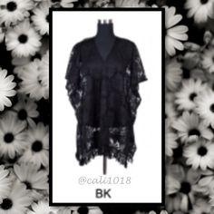 ‼️SUMMER CLOSEOUT🆕Perfect Black Acrylic Lace Po New 3 Colors Spring Poncho Coverup Kimono Lace Overlay OS Material: 100% Acrylic Color choices: Pink, Black & Light Khaki Size: One size fits most (oversized look)  Measurements: (coming soon) Made in USA Features: V-neck; Midi Length; Versatile (can be worn as a tunic, dress, top or coverup) 2nd PHOTO ACCURATE LENGTH Glam Squad 2 You Swim Coverups