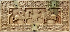 Two Warriors on Horseback on a Casket Lid, Byzantine, Victoria & Albert… Byzantine Army, Byzantine Icons, Oriental, Biblical Art, Antique Boxes, 11th Century, Medieval Art, Romanesque, Dark Ages