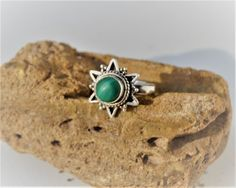 Turquoise Ring  Malachite Ring  Sterling Silver by SweetVintageTX