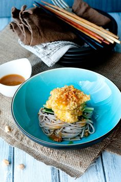 baked quinoa crusted chicken with peanut sauce