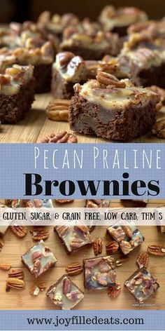 Pecan Praline Brownies = The Best Brownie Ever. Rich, full of chocolate, covered with pecans and creamy praline. Gluten/Grain/Sugar Free, Low Carb, THM S. via Joy Filled Eats - Gluten Sugar Free Recipes Low Carb Sweets, Low Carb Desserts, Low Carb Recipes, Raw Desserts, Healthy Recipes, Brownies Cétoniques, Best Brownies, Slow Cooker Desserts, Low Carb High Fat