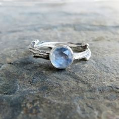 Sterling Silver Moonstone Twig Ring Wedding Set by Brightsmith
