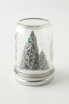 Homemade Holiday Mason Jar Snowglobes with Tiny Sparkly Christmas Trees | The Amused Bouche