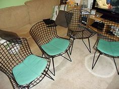 Vintage Parker Knoll Harry Bertoia Dining Room Black Wire Chair 1950's x 4 | eBay  Wish I had £1000