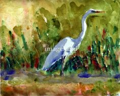 A beautiful white egret pauses in a stream. The landscape is in South Carolina. This fine art print is of an original watercolor painting by Miriam Schulman available for sale either framed on canvas through imagekind