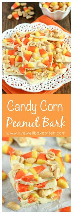 White chocolate topped with candy corn and peanuts. This Candy Corn Peanut Bark is the perfect Halloween treat!