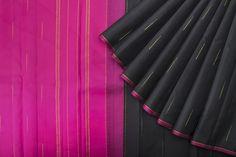 Classic black and pink Kanjeevaram saree