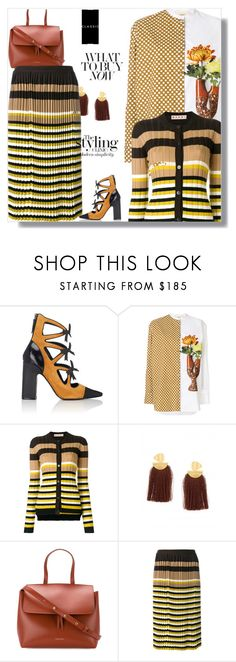 """""""Earn Your Stripes"""" by peeweevaaz ❤ liked on Polyvore featuring Fabrizio Viti, Ports 1961, Marni, Lizzie Fortunato, Mansur Gavriel, Pure & Simple, outfit, stripes, officewear and polyvoreeditorial"""