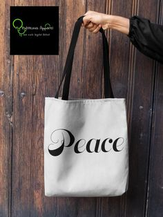 """AOP Tote Bag """"Peace"""" by www.myrighteousapparel.com Laptop Bag For Women, Backpack For Teens, Personalized Tote Bags, Custom Tote Bags, Zipper Pouch Tutorial, Diy Wallet, Pouch Pattern, Framed Canvas Prints, Book Lovers Gifts"""