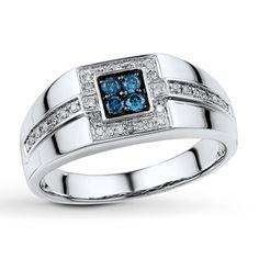 Mens Blue  White Diamond 1/3 ct tw Ring 10K White Gold