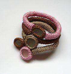 Valentine boho bracelet crochet with 4 sea glass Beige by astash