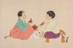 Available for sale from Sarah Hong Gallery, Shin Sun Mi, Meet Again Oriental water paint with Muk (traditional ink) on Jangji (thick layered Korea… Japanese Art Prints, Traditional Ink, Drawing For Kids, Children Drawing, Paint Stain, Korean Hanbok, Korean Artist, China, Asian Art