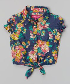 Another great find on #zulily! Blue Floral Puff-Sleeve Tie-Front Top - Girls by Chillipop #zulilyfinds