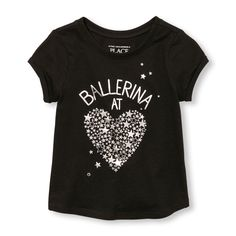 Toddler Girls Active Short Rolled Sleeve Embellished Graphic Top
