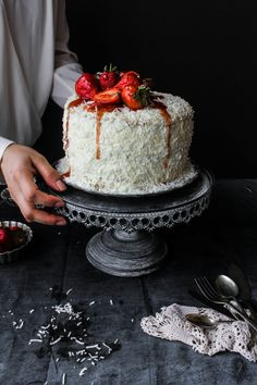 Lemon, Coconut and Strawberry Cake