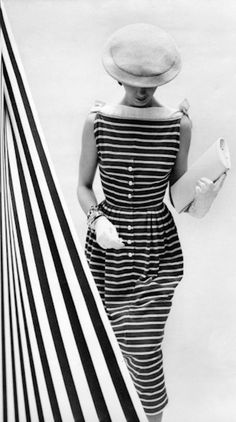 1940's Fashion, striped dress - Photo by Cecil Beaton - http://www.trunkarchive.com/C.aspx?VP3=SearchResult&VBID=2P0UBHM5HPRNY