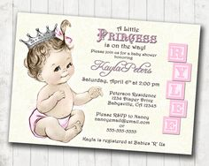 Girl baby shower invitation shabby chic floral vintage baby shower princess baby shower invitation for girl vintage princess pink and silver crown pink diy printable filmwisefo