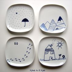 Craft ideas: cerámica pintada a mano.
