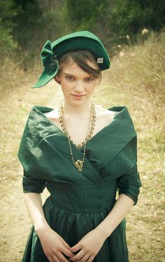 1950s French Style Dress  Emerald Green / XSM by SalvatoCollection, $150.00