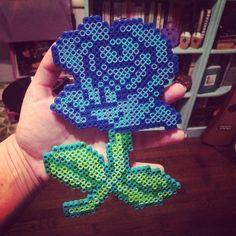 Blue rose perler beads by soberandawesome
