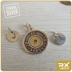 Powerlifting double side pendant. I can and I will Be Strong !!! PLEASE, note Your initial charm preference: KETTLEBELL or DISC !!!  ►►► SPECIFICATIONS ► ★ material: 925 Sterling Silver ★ diameter: 20mm (0,8 inch.) ★ weight: 5 gram (weight of the product is approximate, each piece is unique) ★ option-1: stylish unisex leather cord ★ option-2: one initial sterling silver pendant ★ box: Pendant comes in a small vintage box stamped with RXjewelry logo & wax seal ★ made: 100% handmade  ► See...