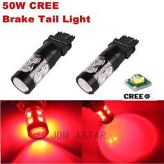 JDM ASTAR 2x50W CREE 3156 3157 Bright Red 12V LED Car Brake Tail Stop Light Bulb #JDMASTAR