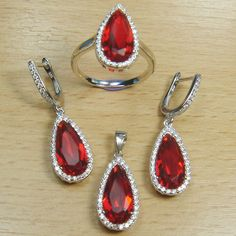 Pear Cut Ruby Red White CZ 925 Sterling Silver Full Jewelry Set