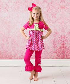 Another great find on #zulily! FlowerSak Hot Pink Quatrefoil Ruffle Top Set - Infant & Toddler by FlowerSak #zulilyfinds