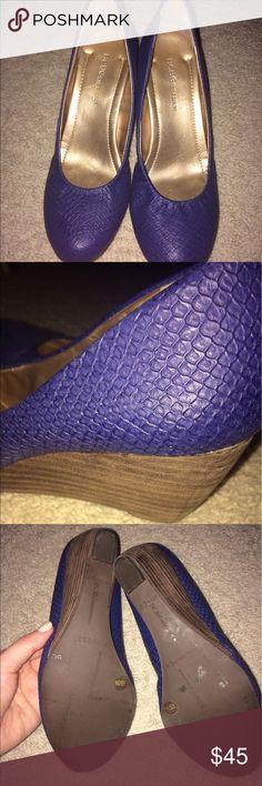 Wedge Heels. Royal Blue, Faux Snakeskin, Round Toe, Wedge Heels. BCBGeneration Shoes Wedges