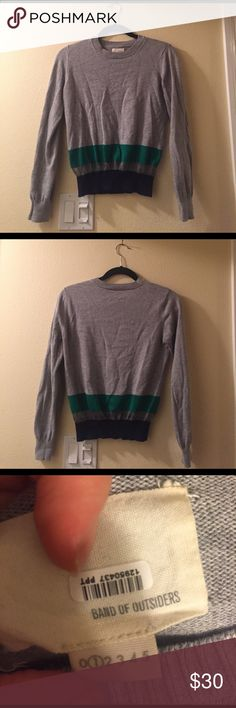 Band of Outsiders grey stripe sweater, size 1 Band of Outsiders grey sweater with a bottom green stripe and mesh blue stripe in excellent condition. Size 1 (equivalent to a size Small). 99% cotton, 1% polyamide. Band Of Outsiders Sweaters Crew & Scoop Necks