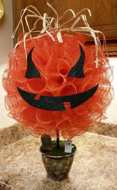Pumpkin Centerpiece, Halloween Deco Mesh Pumpkin, Centerpiece, Halloween, Pumpkin, Spooky Centerpiece by SouthTXCreations on Etsy