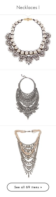 """Necklaces I"" by kylen91 ❤ liked on Polyvore featuring jewelry, necklaces, accessories, crystal necklace, crystal bib necklace, crystal stone necklace, shourouk, white bib necklace, silver plated necklace and swarovski crystal jewelry"
