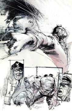 the Punisher (Frank Castle) by Bill Sienkiewicz #prison #fight #drawing