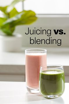 Figuring out whether a juicer or a blender would best suit your lifestyle (and kitchen) doesn't have to be so confusing. Juicers and blenders are both great ways to add more nutrition to your diet, but there are some key differences. Use this quick reference guide to help you decide which one is right for you. You may find you would benefit from both in your kitchen! Best Smoothie Recipes, Good Smoothies, Blender Recipes, Juice Recipes, Best Fruit Juice, Smoothie Makers, Flat Tummy, Food Processor Recipes, Juicers