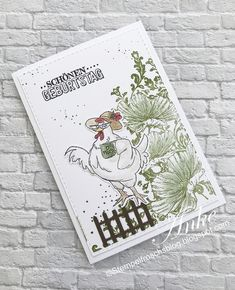 """Stamp frog on Instagram: """"Birthday card with chicken from @artimpressions for the..."""" Funny Farm, Birthday Cards, Stamp, Chicken, Cover, Books, Instagram, Art, Bday Cards"""