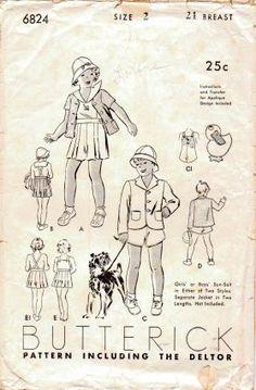 Butterick 6824 Toddler Sunsuit Shorts Jacket Hat Vintage 1940's Sewing Pattern Unprinted #1940s #beachwear #boys #butterick #children #girls #jacket #shorts #suit #toddler #vintage #patterns #sewing #retro #vintagestitching