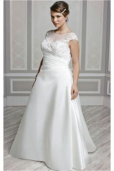 Discounted Church Scoop A-line Cap Sleeves Wedding Dresses