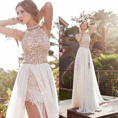 Свадебное платье с большим разрезом