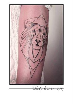 Lion geometric tattoo by Melina Wendlandt (Germany) # tattoo artist