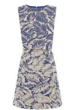 All   Blue Palm Leaf Dress   Warehouse