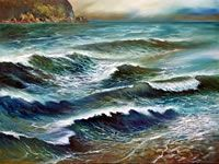 NZ Coastal art with a Maori Heritage influence. These coastal landscapes are worked in oil on canvas, paper or linen often with torn edges depicting the rugged nz coast. View at his Nelson gallery or online. New Zealand Landscape, Coastal Art, Oil On Canvas, Art Gallery, Waves, Strong, Contemporary, Artist, Painting