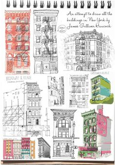24. Draw the buildings in yoir neighborhood. Pretend to be an architect student. #sketchbook30 All the Buildings in New York