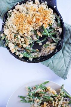 low carb green bean casserole overhead