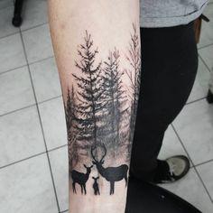 Love this nature tattoo by Ian Miller #IanMiller #leaflesstree #tree #noleaves #fall #nature #blackwork #deer #family #blackandgrey