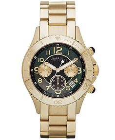 Marc by Marc Jacobs Watch, Women's Chronograph Rock Gold-Tone Stainless Steel Bracelet 40mm MBM3253 - Watches - Jewelry & Watches - Macy's